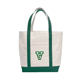 State Contender White/Dark Green Canvas Tote-VS