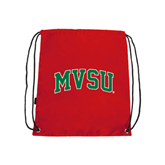 State Red Drawstring Backpack-Arched MVSU