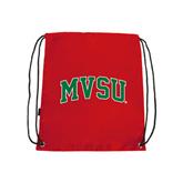 State Nylon Red Drawstring Backpack-Arched MVSU