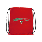 State Red Drawstring Backpack-Arched Mississippi Valley