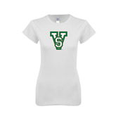 State Next Level Ladies SoftStyle Junior Fitted White Tee-VS