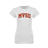 State Next Level Ladies SoftStyle Junior Fitted White Tee-Arched MVSU