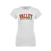 State Next Level Ladies SoftStyle Junior Fitted White Tee-Arched Valley Delta Devils