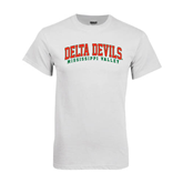 State White T Shirt-Arched Delta Devils