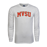 State White Long Sleeve T Shirt-Arched MVSU
