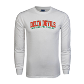 State White Long Sleeve T Shirt-Arched Delta Devils