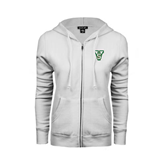 State ENZA Ladies White Fleece Full Zip Hoodie-VS