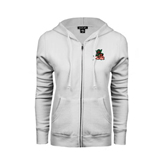 State ENZA Ladies White Fleece Full Zip Hoodie-Devils