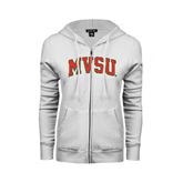 State ENZA Ladies White Fleece Full Zip Hoodie-Arched MVSU