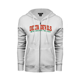 State ENZA Ladies White Fleece Full Zip Hoodie-Arched Delta Devils