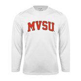 State Performance White Longsleeve Shirt-Arched MVSU