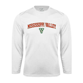 State Performance White Longsleeve Shirt-Arched Mississippi Valley