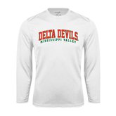 State Performance White Longsleeve Shirt-Arched Delta Devils