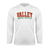 State Syntrel Performance White Longsleeve Shirt-Arched Valley Delta Devils