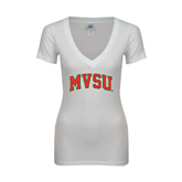 State Next Level Ladies Junior Fit Ideal V White Tee-Arched MVSU