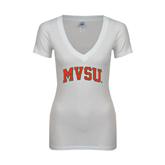 State Next Level Ladies Junior Fit Deep V White Tee-Arched MVSU