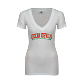 State Next Level Ladies Junior Fit Ideal V White Tee-Arched Delta Devils