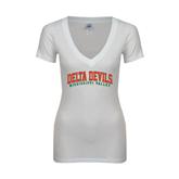 State Next Level Ladies Junior Fit Deep V White Tee-Arched Delta Devils