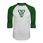 State White/Dark Green Raglan Baseball T-Shirt-VS