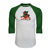 State White/Dark Green Raglan Baseball T-Shirt-Devils