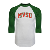 State White/Dark Green Raglan Baseball T-Shirt-Arched MVSU