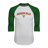 State White/Dark Green Raglan Baseball T-Shirt-Arched Mississippi Valley