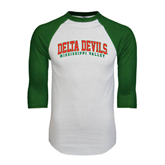 State White/Dark Green Raglan Baseball T-Shirt-Arched Delta Devils