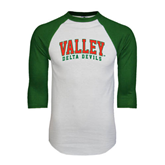 State White/Dark Green Raglan Baseball T-Shirt-Arched Valley Delta Devils
