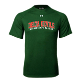 State Under Armour Dark Green Tech Tee-Arched Delta Devils