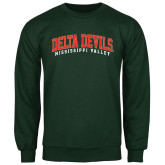 State Dark Green Fleece Crew-Arched Delta Devils