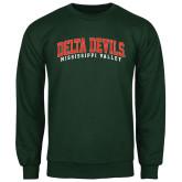 State Dark Green Fleece Crew-Arched Delta Devils