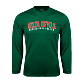 State Syntrel Performance Dark Green Longsleeve Shirt-Arched Delta Devils
