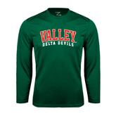 State Syntrel Performance Dark Green Longsleeve Shirt-Arched Valley Delta Devils