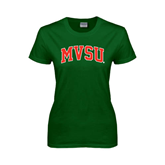 State Ladies Dark Green T Shirt-Arched MVSU