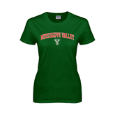 State Ladies Dark Green T Shirt-Arched Mississippi Valley
