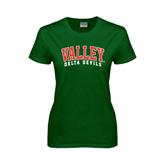 State Ladies Dark Green T Shirt-Arched Valley Delta Devils