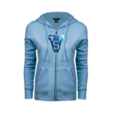 State ENZA Ladies Light Blue Fleece Full Zip Hoodie-VS Foil