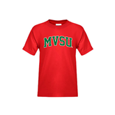 State Youth Red T Shirt-Arched MVSU