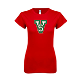 State Next Level Ladies SoftStyle Junior Fitted Red Tee-VS