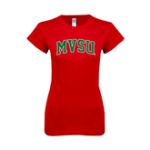 State Next Level Ladies SoftStyle Junior Fitted Red Tee-Arched MVSU