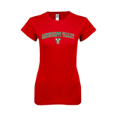 State Next Level Ladies SoftStyle Junior Fitted Red Tee-Arched Mississippi Valley