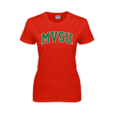 State Ladies Red T Shirt-Arched MVSU