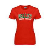 State Ladies Red T Shirt-Arched Valley Delta Devils
