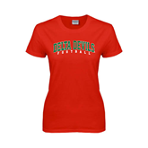 State Ladies Red T Shirt-Football