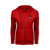 State Ladies Red Fleece Full Zip Hoodie-Devils