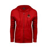 State ENZA Ladies Red Fleece Full Zip Hoodie-Devils