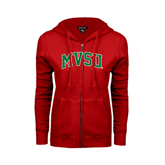 State Ladies Red Fleece Full Zip Hoodie-Arched MVSU