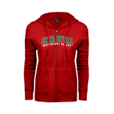 State ENZA Ladies Red Fleece Full Zip Hoodie-Arched Delta Devils
