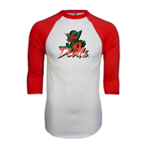State White/Red Raglan Baseball T-Shirt-Devils