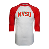 State White/Red Raglan Baseball T-Shirt-Arched MVSU